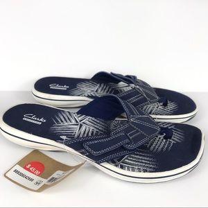 Clark's Navy Comfort Flip Flop Thong Sandals NWT